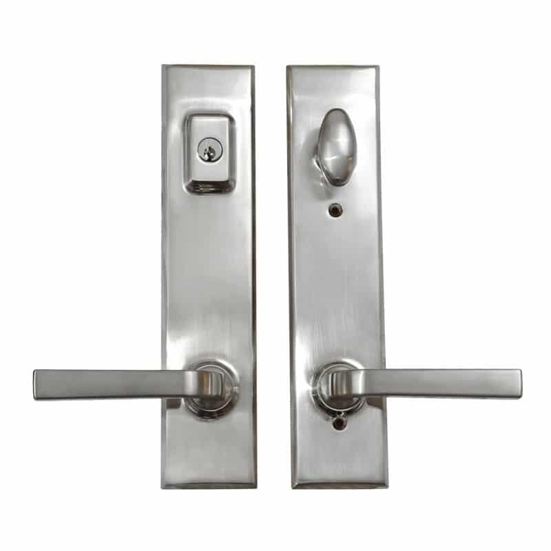 Rectangular Handle Trilennium Multipoint Door Handle Handset in Satin Nickel